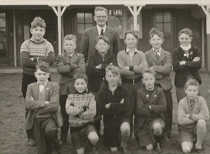 Scotter School Football Team 1960, Headmaster; M Carpenter, Back row; Bartram, Peter Mavis, Mike Lanningham, Geo Dobson, Keith Cook, John Wood, Front row; Martin Drakes, Peter Cook, Mike King. Martin Windle, David Cook
